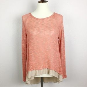 Anthropologie Paper Crane Long Sleeve Ruffle Top